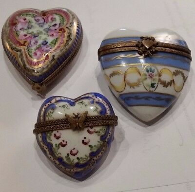 Three (3) Limoges Hand Painted Heart Porcelain Hinged Boxes