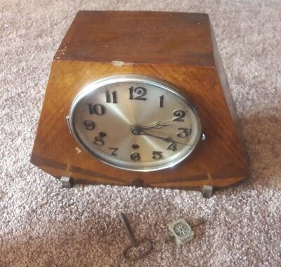 Art Deco Haller Westminster Chime Wooden  Mantle Clock Wood for Repair