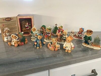 Lot of 13 Cherished Teddies Winter/Christmas bear figurines and ornament