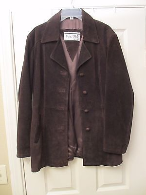 Vera Pelle Men's Italian Made Dark Brown Suede Coat Button Front Fully Lined