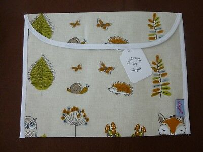 Baby Health Red Record Book Holder Woodland Fox Cotton Fabric - Shower Gift-BNWT