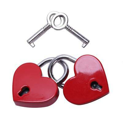 2Pcs Small Heart Shaped Padlock Mini Lock with Key for Jewelry Box R9R2
