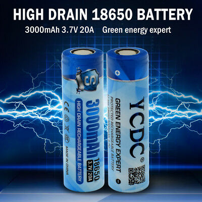 Rechargeable High Drain 20A 18650 Battery 3000mAh Cell For Diving Strong Torch