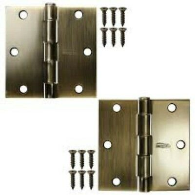 Lot of 4 Stanley National 3.5 Inch Antique Brass Square Residential Door Hinges