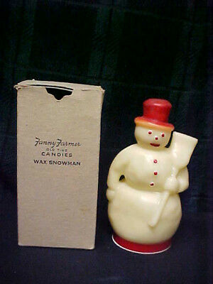 Vintage RARE Fanny Farmer Ole Time Candies 4 oz Candy Container - Wax Snowman