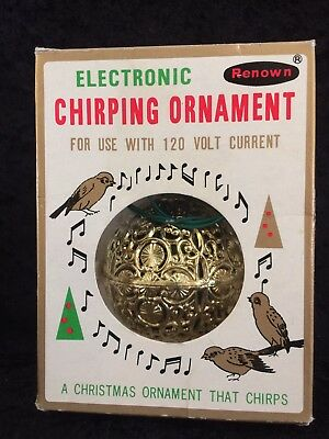 Vintage Renown Electric Gold Ball-Makes Chirping Sound- Bird Ornament