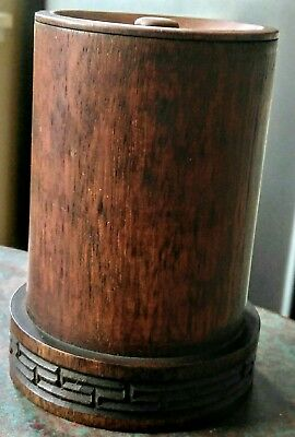 Vintage Turned Wood Wooden Container Box With Lid Treenware Art Deco