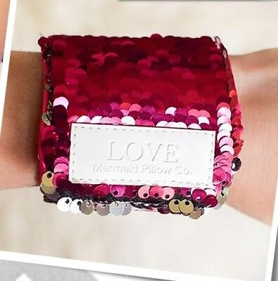 """Mermaid Pillow Co.  Pink Sequined """"love"""" Bracelet  New And Sealed"""