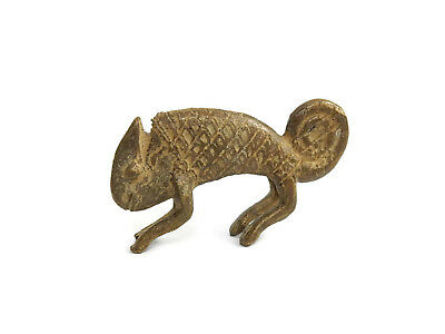 Rare Antique African Primitive Art Bronze Ashanti Gold Weight - CHAMELEON