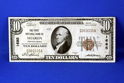 1929 $10.00 National Banknote First National Bank of Sharon PA US note