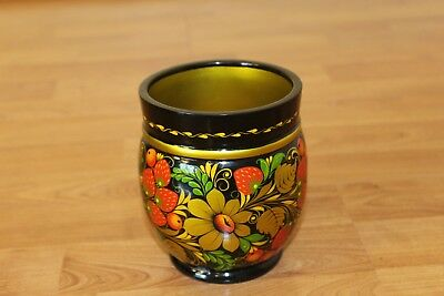 Vintage Russian Hand Painted Vase / Khokkloma Lacquer Wood Small Bowl