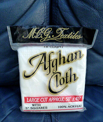 """MCG TEXTILES AFGHAN CLOTH - 18 COUNT -  45"""" x 58"""" - NEW IN SEALED PACKAGE"""