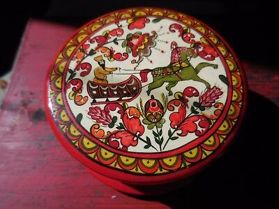 Russian Red Lacquer Enamel Hand Painted Round Trinket Box