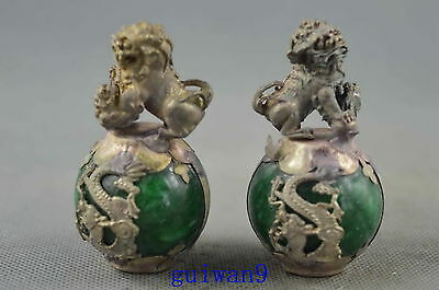 Collectible Handwork Miao Silver Carve Lion & Dragon Inlay Aagte Exorcism Statue