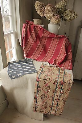 Antique Ikat fabric PROJECT BUNDLE ticking material old linen + floral