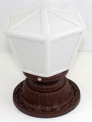 Antique Art Deco/Nouveau Cast Iron Ceiling Light Fixture Flush Mount