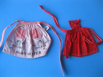 Vintage Barbie Doll APRON LOT Barbie Baby Sits Pak Tagged Clothes Mattel 60's