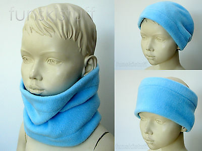 Infant boys girls baby PALE BLUE NECK WARMER fleece scarf snood toddler cowl ski