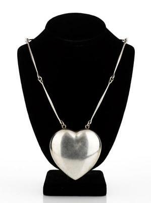 Georg Jensen Sterling Silver Astrid Fog Necklace Large Puffy Heart Pendant #126