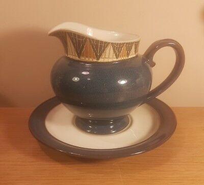 Denby Boston blue gravy jug and saucer / sauce boat and tray