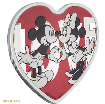 2018 Disney With Love Heart Shaped Coin Mickey & Minnie Mouse Silver W/ogp