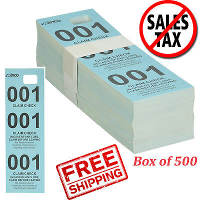 500 Pc Winco Numbered Perforated Cardstock Ticket Claim Coat Check Set Kit Blue