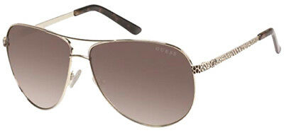 Guess Women's Classic Aviator Sunglasses w/ Brown Gradient Lens GU7370 GLD 34