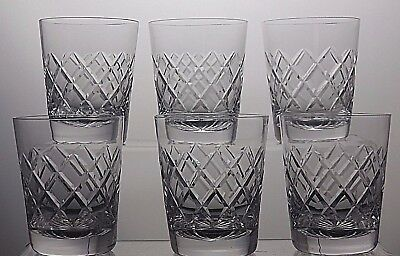 "TUDOR LEAD CRYSTAL CUT GLASS FLAT TUMBLERS SET OF 6 - 3 1/4"" (8.25 cm) TALL"