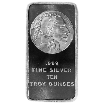 10 Troy oz Buffalo .999 Fine Silver Bar Sealed