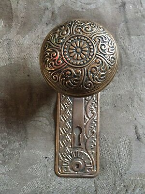 ANTIQUE Eastlake CAST Brass Cairo Design BACKPLATE DOOR Very Ornate  #2