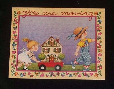 "Mary Engelbreit ""We are moving"" post card Little boy and girl with wagon"