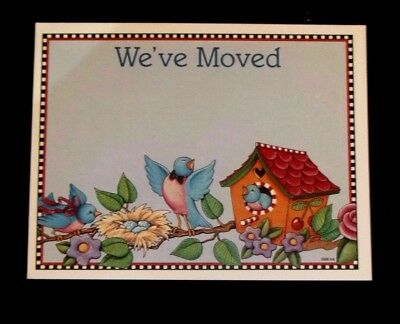 "Mary Engelbreit ""We've Moved"" post card Darling bird family in tree"