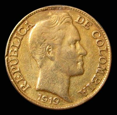 1919 Gold Colombia 2.5 Peso Mount Removed Genuine