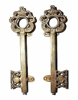 """A pair of Attractive Brass made Unique KEY SHAPE DOOR HANDLES  """"Antique Finish"""""""