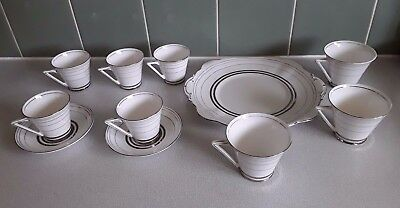 1930's Art Deco Sir John Bennett 'The Mayfair' Coffee Cups and Cake Plate