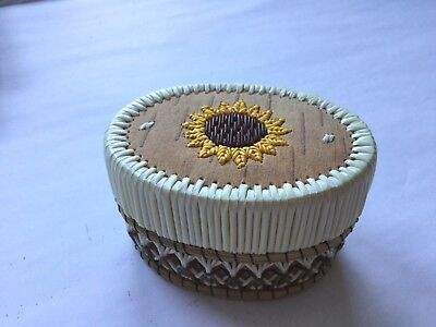 """3"""" oval sunflower porcupine quill box - signed"""