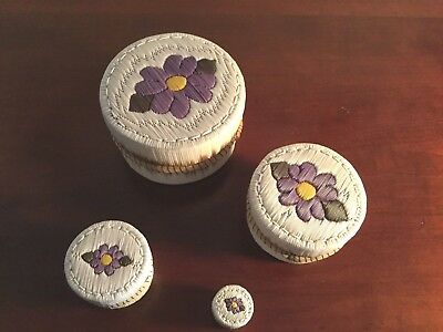 Unusual set of 4 Nested Porcupine Quill Boxes - Signed
