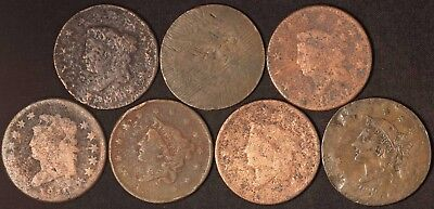 7 Large Cents with Indiscernible Dates - Free Shipping USA