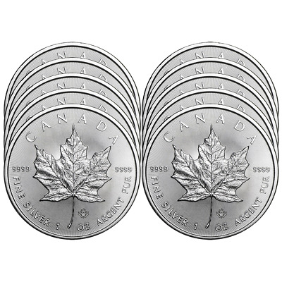 Lot of 10 - 2018 $5 Silver Canadian Maple Leaf 1 oz Brilliant Uncirculated