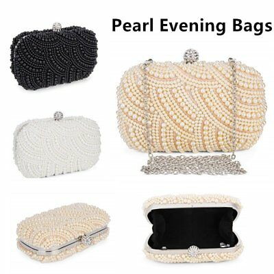Womens Satin Beaded Evening Bag Handmade Wedding Party Clutch Pearl Evening Bags