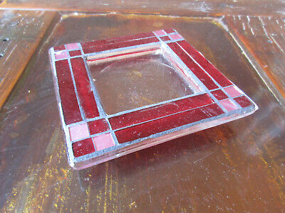 Handmade Stained Glass Candle Votive Holder Red And Pink