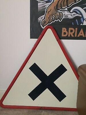 Vintage French Road Large Sign Antique Collectable Enamel Finish