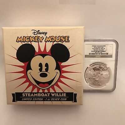 2014 Mickey Mouse $2Niue Disney Characters Steamboat Willie Silver Coin NGC PF69