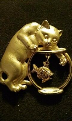 Goldtone Pin Of Cat In The Fishbowl With Hanging Fish