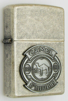 Camel Zippo Lighter 1998 Cz163 Antiqued Silver Plated Camel 85Th Anniversary