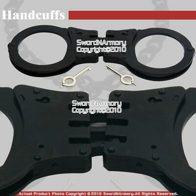Black Heavy Duty Steel Triple Hinged Double Lock Handcuffs with Spare Keys