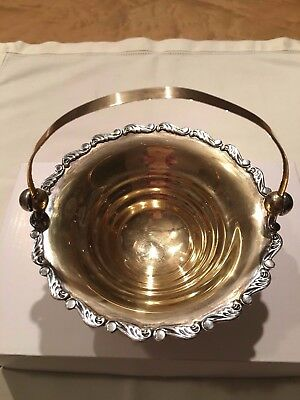 Vintage solid silver gold plated candy dish Russian USSR 875c.1927-1953