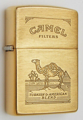 Camel Zippo Lighter Prototype 1995 Brushed Brass Camel Pack Graphics No Borders