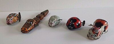 5 Wind Up Vintage Unique Collectible Toys Alligator Cat Chipmunk Mouse Ladybug