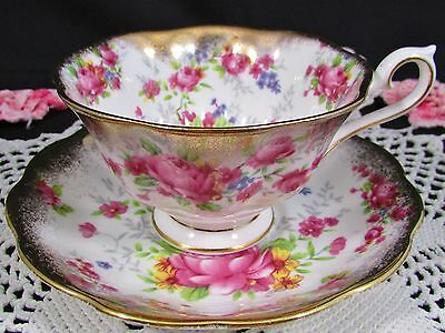 Royal Albert Pink Roses Sponged Gold Fluted Tea Cup And Saucer
